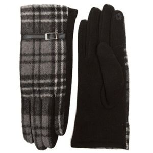 GRAY CHECKERED TOUCH SCREEN GLOVES